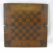 Antique Wooden Inlaid Game Board with Initials Ca. 1890