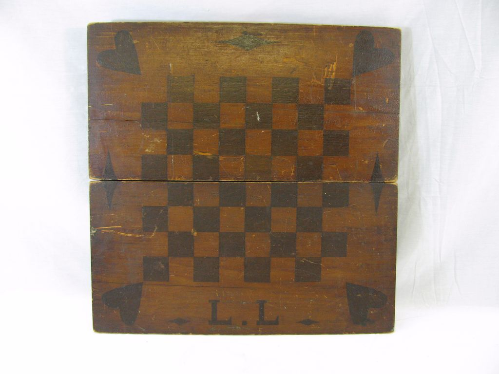 Antique wooden inlaid game board with initials ca