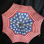 Antique Americana Patriotic American Flag Pattern Parade Parasol