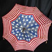 Antique Americana Patriotic American Flag Pattern Parade Parasol
