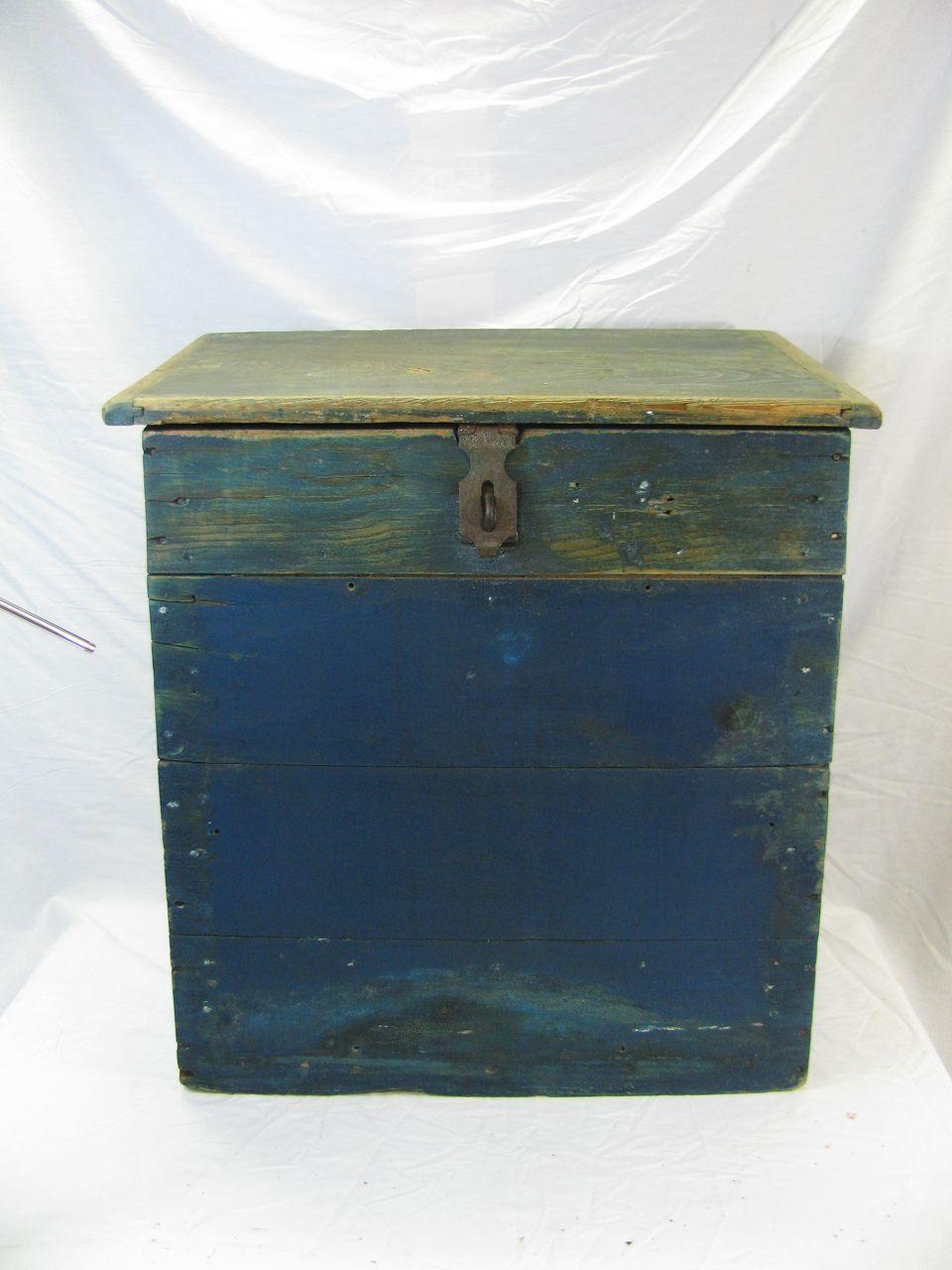 Antique Grain Bin in Blue Paint Convenient Size
