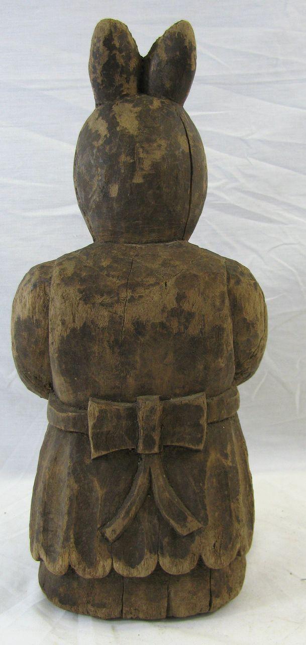 Antique folk art wooden carved rabbit paper mache mold