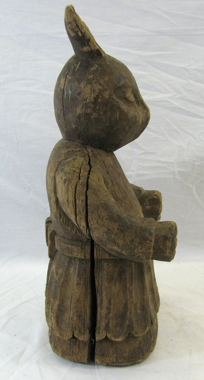 Antique folk art wooden carved rabbit paper mache mold