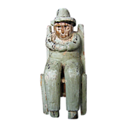 Antique Primitive Folk Art Carved Man in Chair