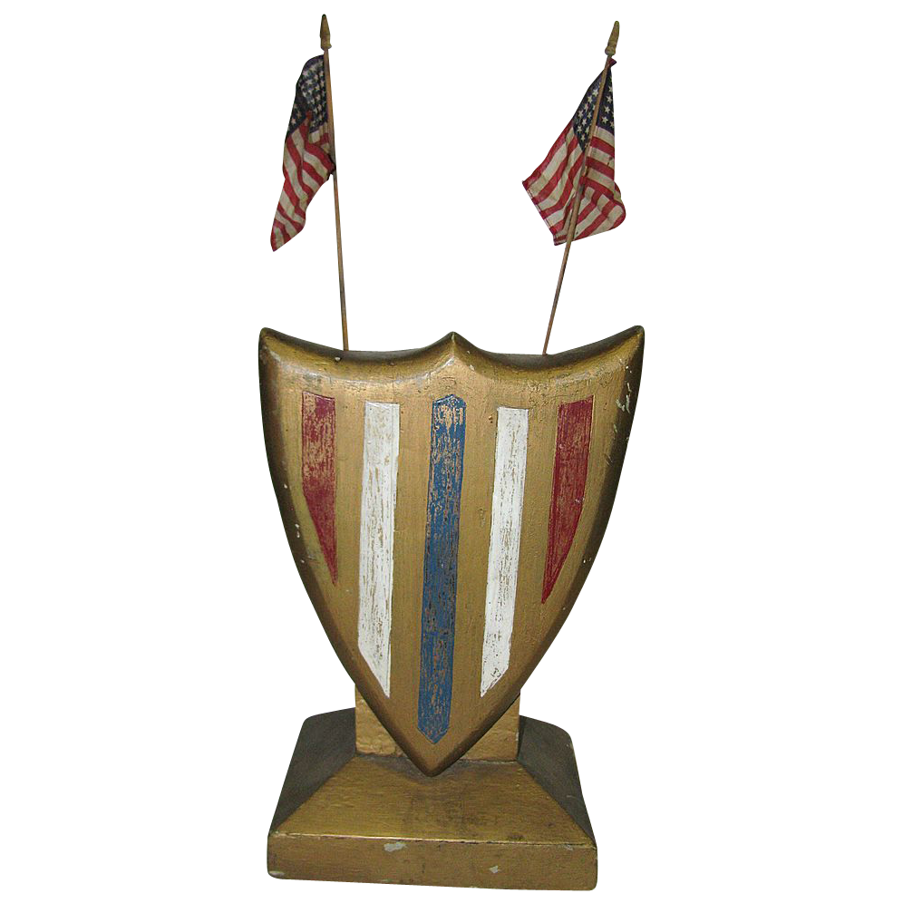 Vintage Art Deco Patriotic Americana Wooden Shield
