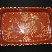 Antique Southern Large Redware Serving Dish