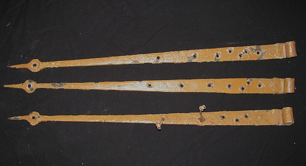 Antique Set of 3 Iron Strap Hinges