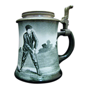Antique O'Hara Dial Golf Theme Ceramic Stein