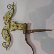 Antique Iron Fancy Rams Horn Hinge In Paint