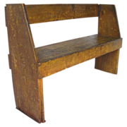 Antique Feather Grain Painted Wooden Camp Bench