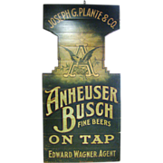 Antique Anheuser Busch Tavern Beer Sign 1890 Painted Wood Americana