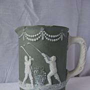 Antique Ceramic Jasperware Golf Theme Pitcher