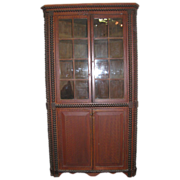 Antique Country Sponge Folk Decorated Corner Cupboard
