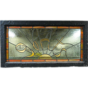 Vintage Stained Glass Transom Windows Ladies and Gents