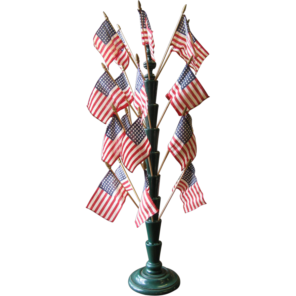 Antique Painted Country Store Lollipop, Patriotic Flag or Hat Pin Counter Display