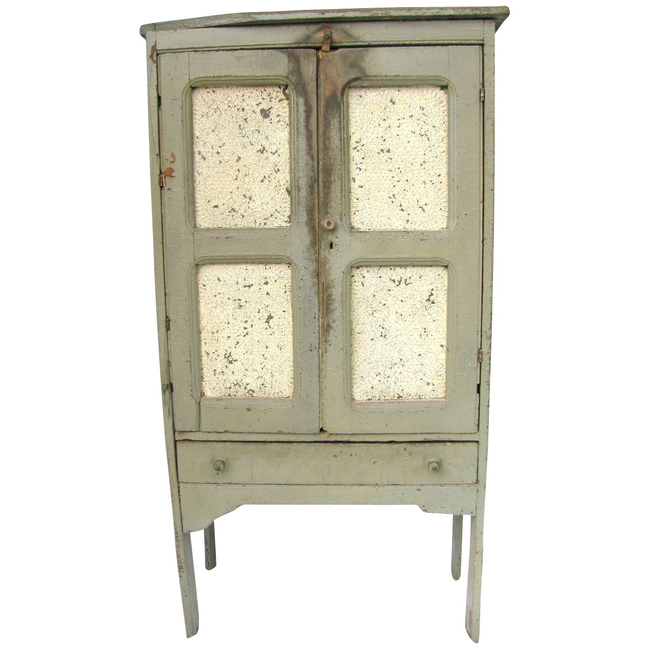Antique Diminutive Punched Tin Painted Wooden Pie Safe from ...