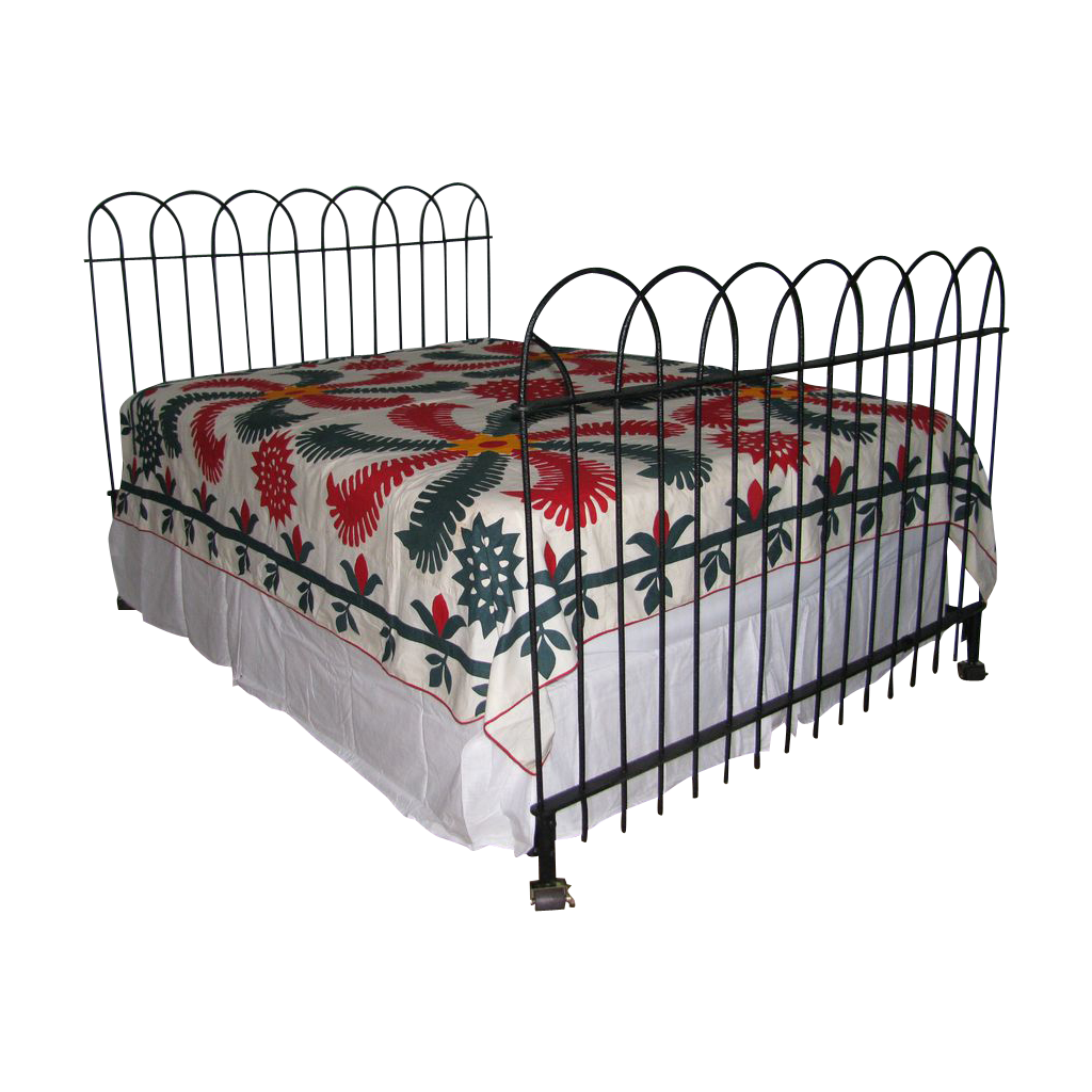 antique hairpin wrought iron fence queen bed frame headboard and from north2southantiques on. Black Bedroom Furniture Sets. Home Design Ideas