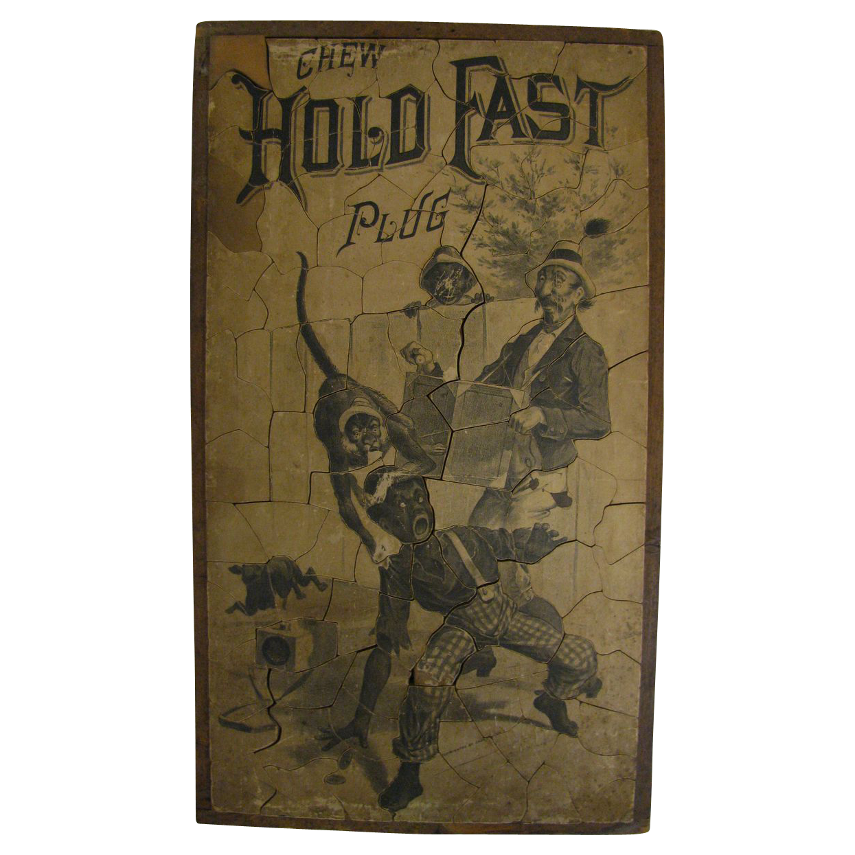Antique Wooden Black Americana Tobacco Advertising Puzzle