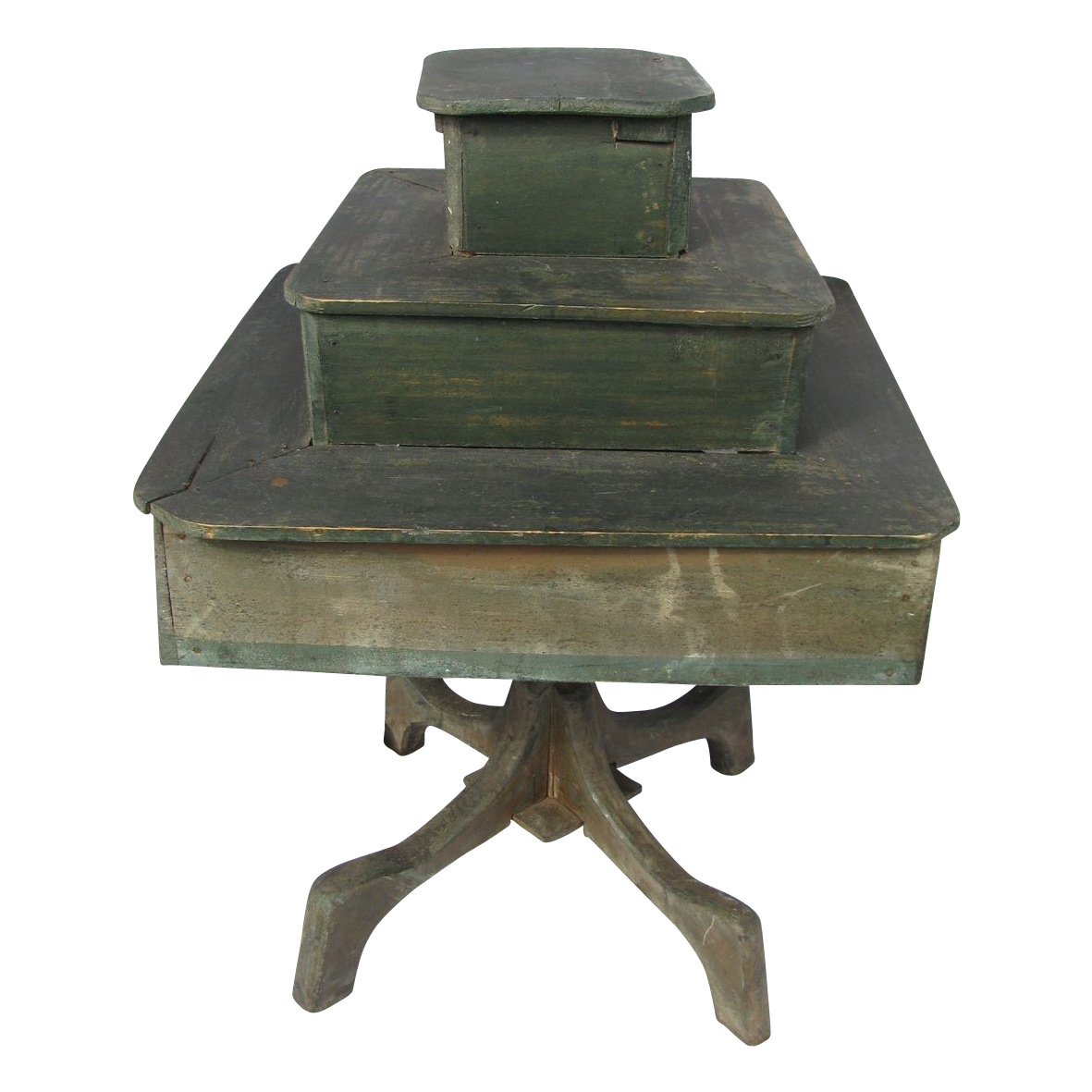 Antique Paint Decorated Wooden Rotating Country Store Display Table From North2southantiques On