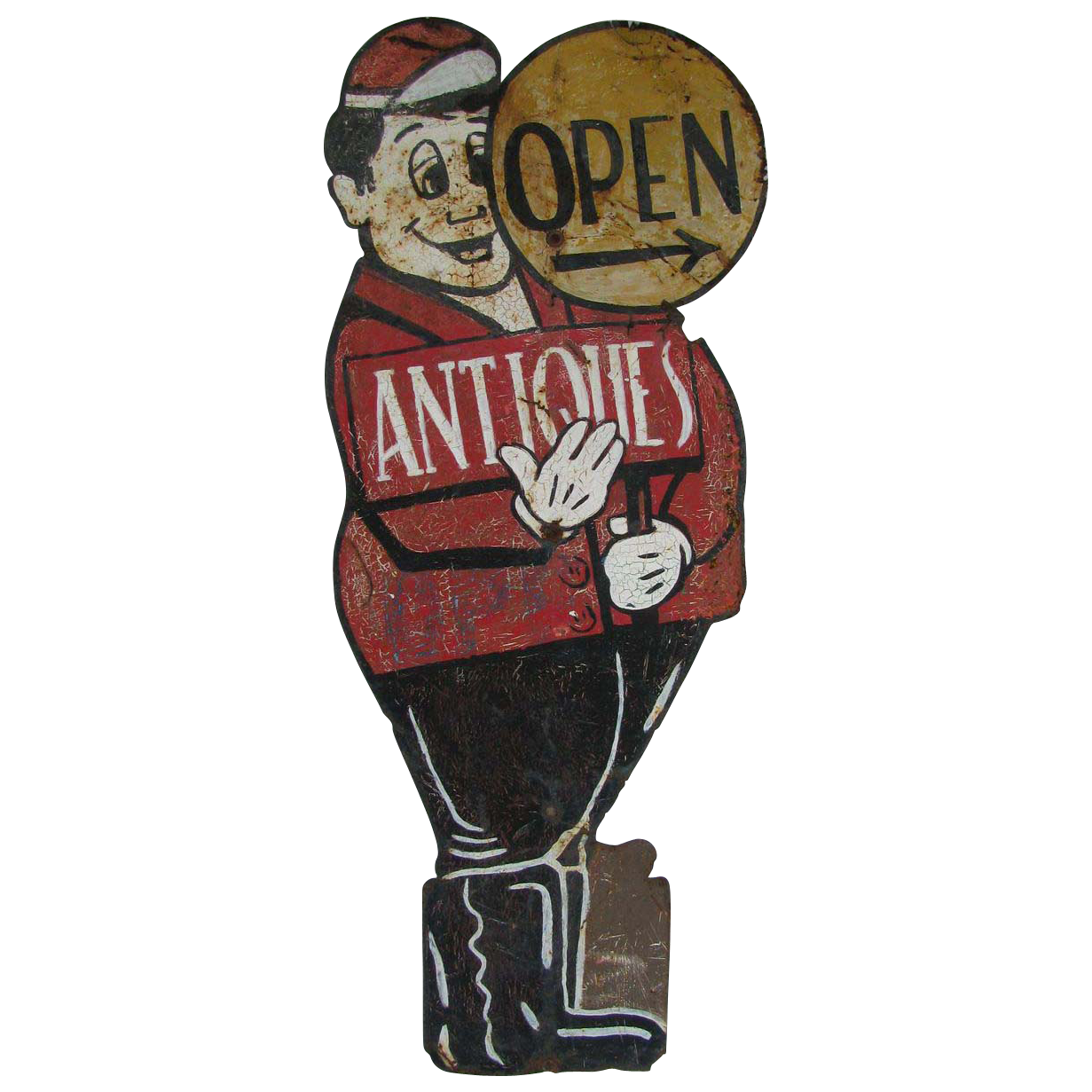 Vintage Painted Tin Antiques Directional Advertising Sign