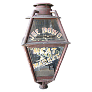 Antique Americana Reverse Glass Painted Advertising Post Lamp