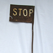 Antique Iron Railroad Stop Sign Signal