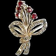 Bohemian Garnet 925 Sterling Silver Marcasite Floral Bouquet Ribbon Pin