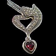 Vintage Garnet Heart Marcasite 925 Sterling Silver Pendant Necklace