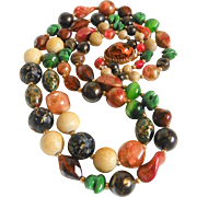 Vintage Hattie Carnegie Art Bead 2 Strand Necklace Signed Fall Colors