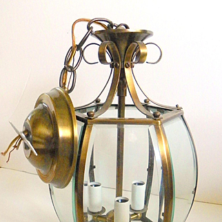 Mid Century Polished Brass and Beveled Glass Hanging Light Fixture