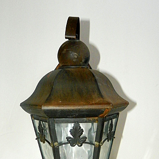 Art Nouveau Hinkley Wall Lantern Antiqued Bronze Wavy Glass