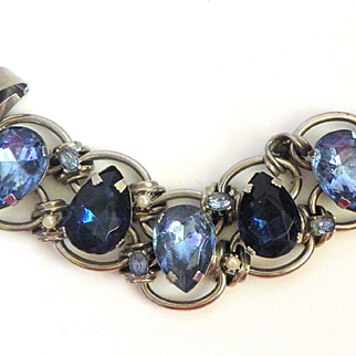 Vintage Chunky Rhinestone Faux Pearl Large Link Bracelet
