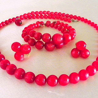 Vintage Cherry Red Moonglow Bead Necklace Earrings Bracelet Set
