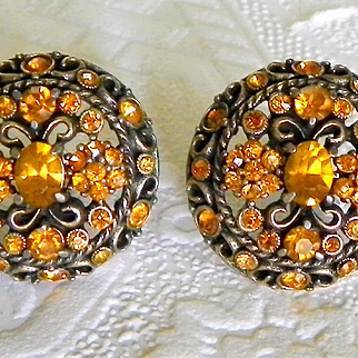 Hollycraft Yellow Topaz Rhinestone Earrings 1961