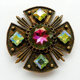 Vintage Dodds Aurora Borealis Rhinestone Maltese Cross Brooch Pendant
