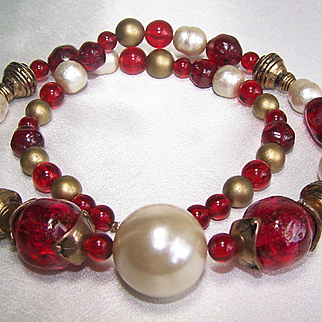 Vintage Cherry Red Art Bead and Faux Pearl Long Lucite Necklace