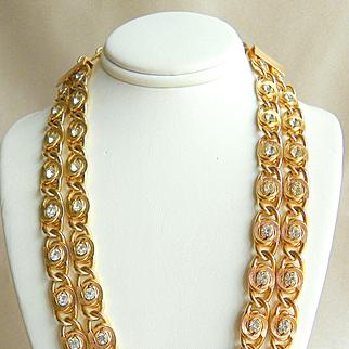 Vintage Designer Kramer Double Strand Rhinestone Necklace