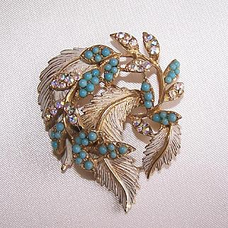 Vintage Designer BSK Aurora Borealis Rhinestone Faux Turquoise Layered Brooch Pin