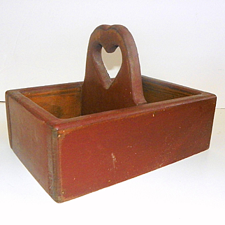 Primitive Wood Tote Box with Heart Carved Handle and Original Red Paint
