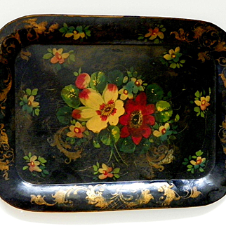 Vintage Hand Painted Hand Forged Tole Tray