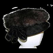 Vintage Black Mink and Velvet Womens' Hat by Caprice NY