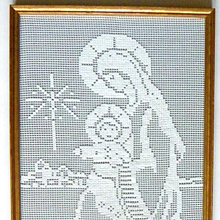 Vintage Religious Needlework of Mary and Baby Jesus with Glass and Frame