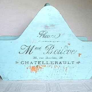 Vintage French Painted Wood Gathering Garden Basket