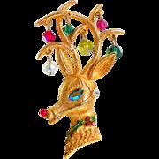 Vintage MYLU Christmas Reindeer Brooch Pin
