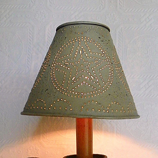 Primitive Candle Stick Table Lamp Punched Tin Shade