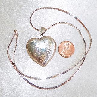 Vintage Large 925 Sterling Silver Heart Locket Chased Designs