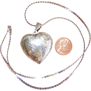 Vintage Large 925 Sterling Silver Heart Locket Chased Designs
