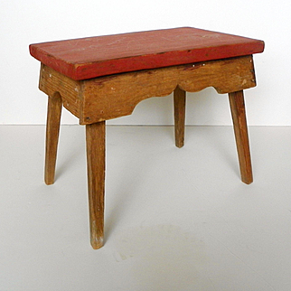 Primitive Wood Stool Red Paint