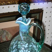Glass Cruet Early 20th Century Aqua
