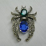 Vintage Spider Pin of Marcasite,Blue, Green, Green Stones and Pearls